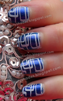 Blue and White Stamping Nails