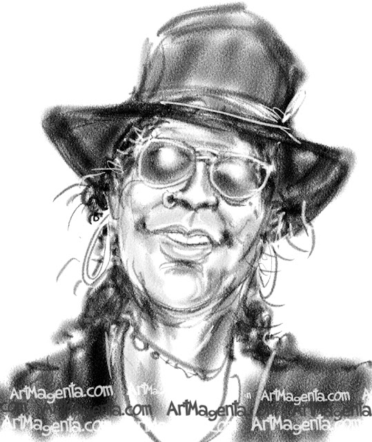 Slash caricature cartoon. Portrait drawing by caricaturist Artmagenta