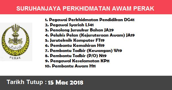 Jawatan Kosong di Suruhanjaya Perkhidmatan Awam Negeri Perak