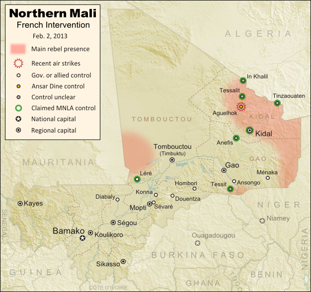 Updated map of fighting and territorial control in Mali during the January-February 2013 French intervention against the Islamist extremist rebel groups Ansar Dine and MUJAO. Reflects the situation as of February 2, when Kidal and other towns have been captured by French and African forces.
