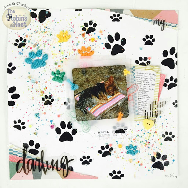 My Darling embroidery scrapbook layout by Angela Tombari