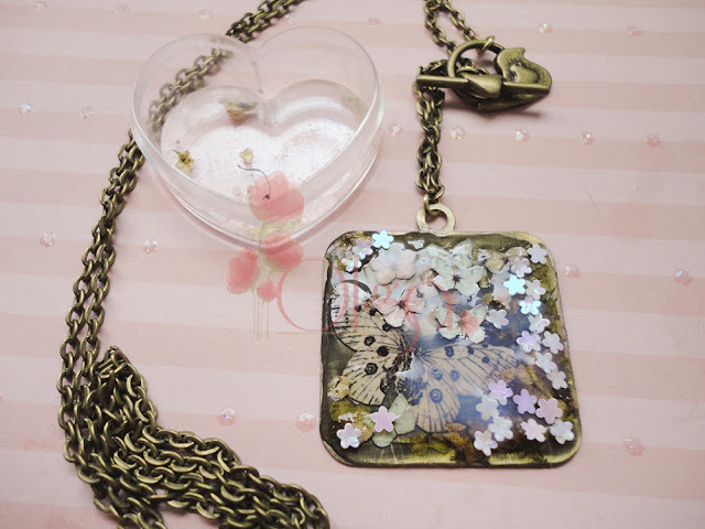 colgante para el dia de la madre flores y mariposas. mother´s day necklace flowers butterflies