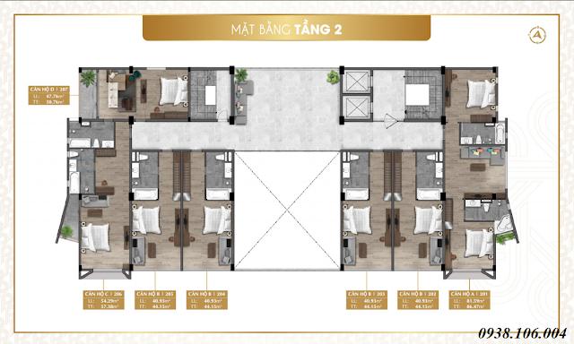 Bảng giá condotel Parami Hồ Tràm Vũng Tàu - mặt bằng tầng 2