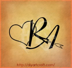 Letter R With Heart Tattoo Designs