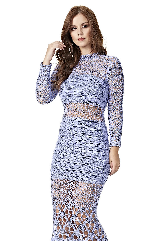 Vestido Longo De Crochê Vazado Com Gráfico Tricô Crochê