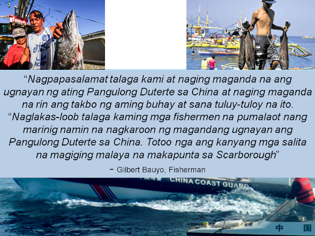 In 2012, China made a claim on Scarborough Shoal which was part of the 200 nautical miles economic zone of Philippines.  According to them, when they attempted to fish in Scarborough Shoal last October 22, they were driven back by the coast guard and sometimes water canon is used to drive them away. Because of this, the fishermen usually goes back home with nothing. However when they attempted again to fish in the area on October 25, the coast guard allowed them to fish.   It is noted that President Duterte visited China  recently, the leaders of both countries made a deal that allows Filipino fishermen to fish in the area again.