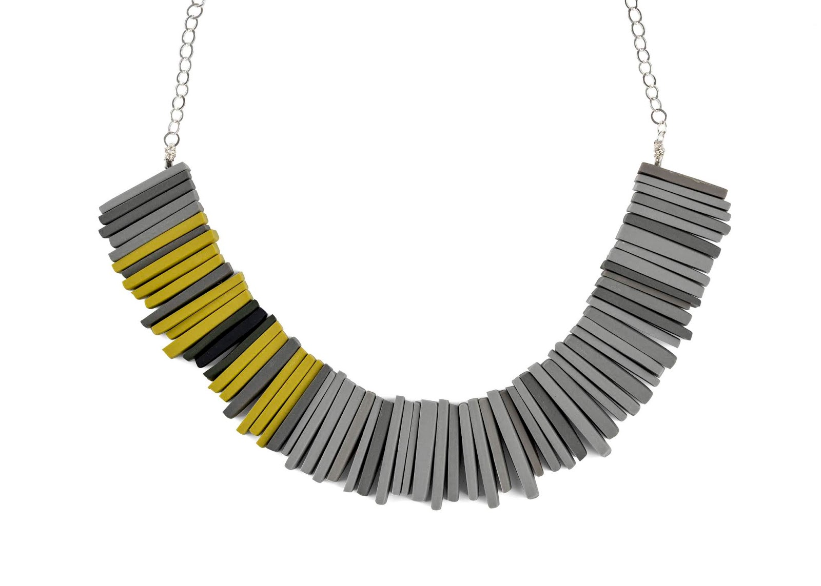 Modern Deco Necklace in sulphur and grey by Colour Designs, £65