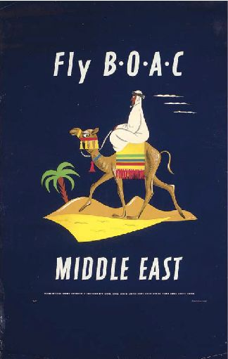 FLY B.O.A.C - Middle East Vintage Travel Poster