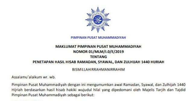 Maklumat Muhammadiyah penetapan 1 Ramadhan 2019 (1440 H) dan penetapan 1 Syawal 2019  (1440 H)