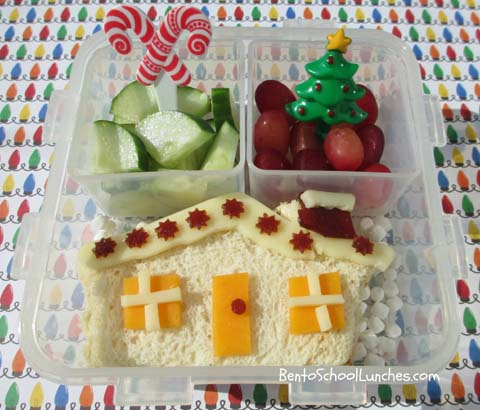 Gingerbread house bento lunch