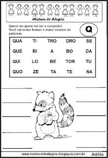 Formar palavras com a letra q