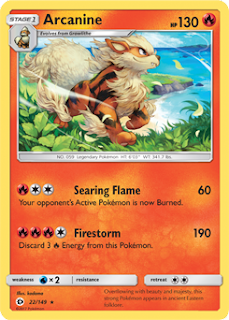 Arcanine Sun and Moon Pokemon Card