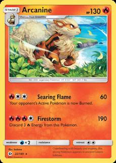 Arcanine Sun and Moon Pokemon Card
