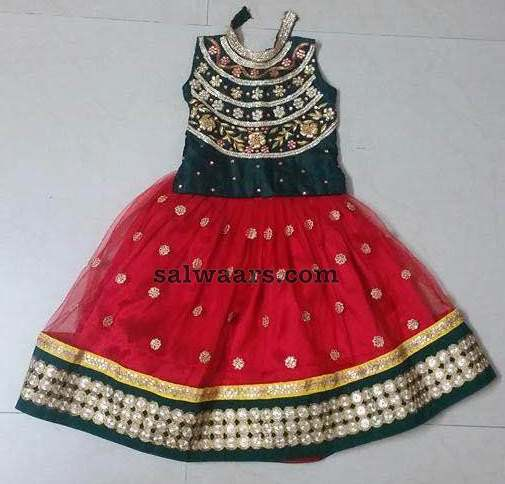 Red Printed Lehenga High Neck Blouse