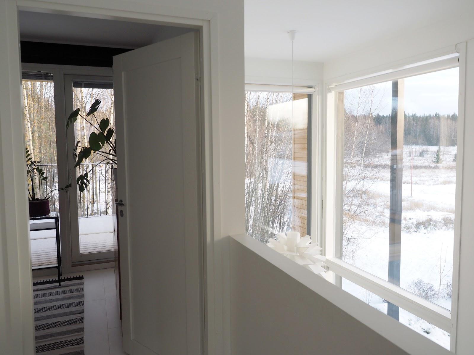 Yläkerta, maisema, talvi, moderni koti
