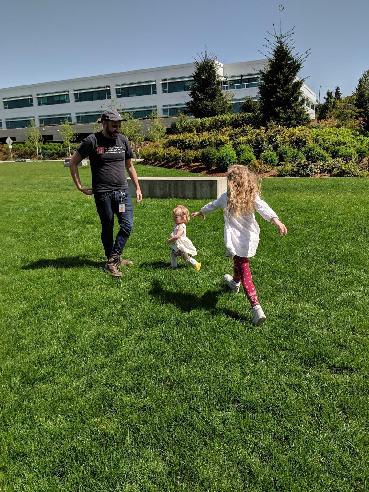 family running outside millennial family