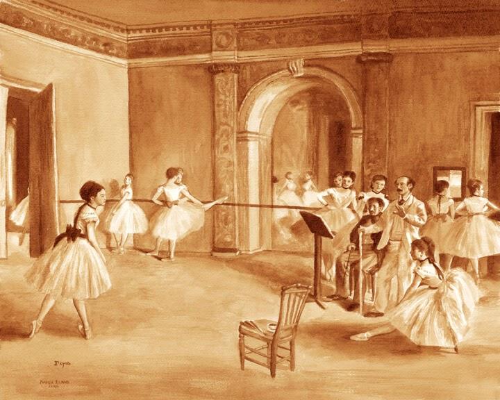 11-Ballet-Class-Karen-Eland-The-World-Through-Coffee-Paintings-www-designstack-co