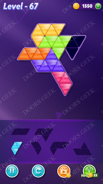 Block! Triangle Puzzle 6 Mania Level 67 Solution, Cheats, Walkthrough for Android, iPhone, iPad and iPod