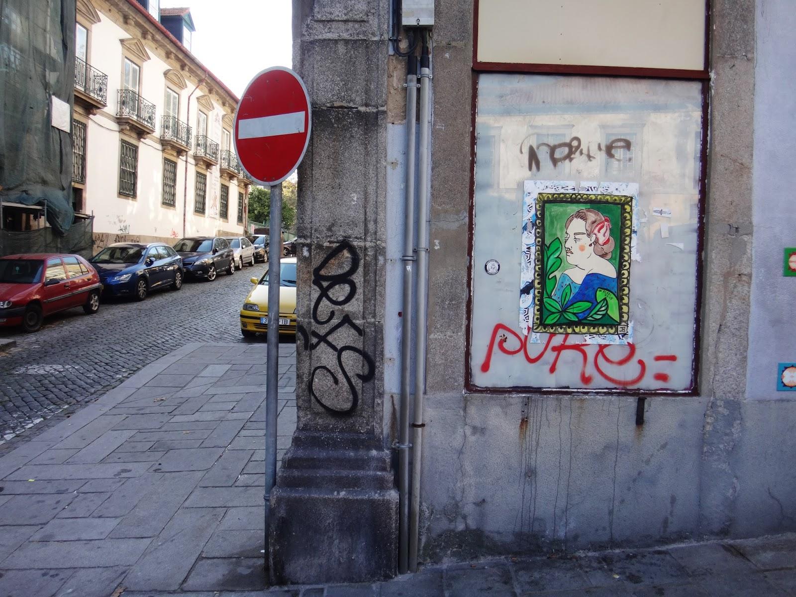 Face Profile Street Art Pasteup Sticker Poster Porto