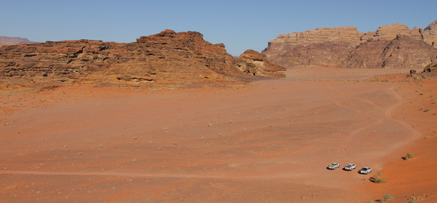 The mountain desert landscape of Wadi Rum, Jordan