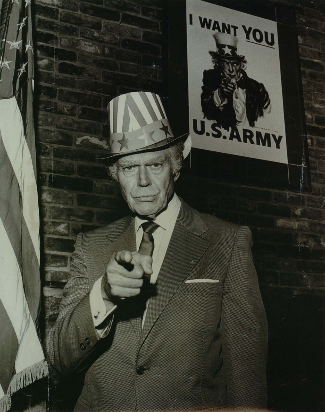 Walter Botts posing as Uncle Sam at opening of Uncle Sam's Newsroom Restaurant and Lodge, 1970.