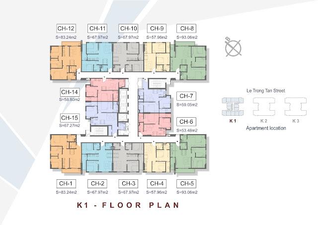 Mặt bằng căn hộ K1 dự án The K - Park