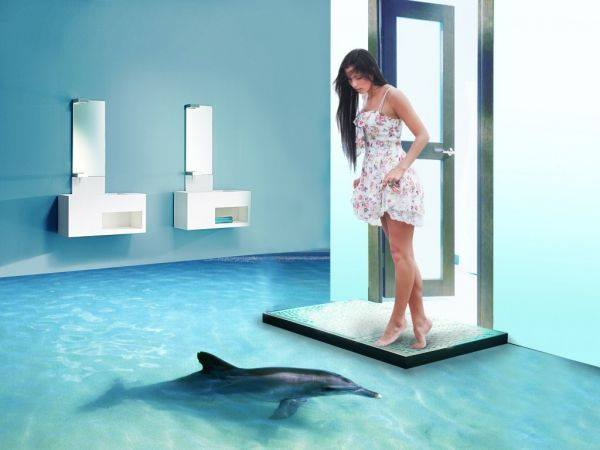 3d flooring installation in bathroom