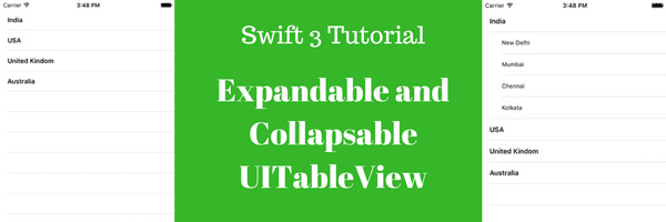 Expandable and collapsable UITableView in iOS sdk using Swift3 - Tutorial