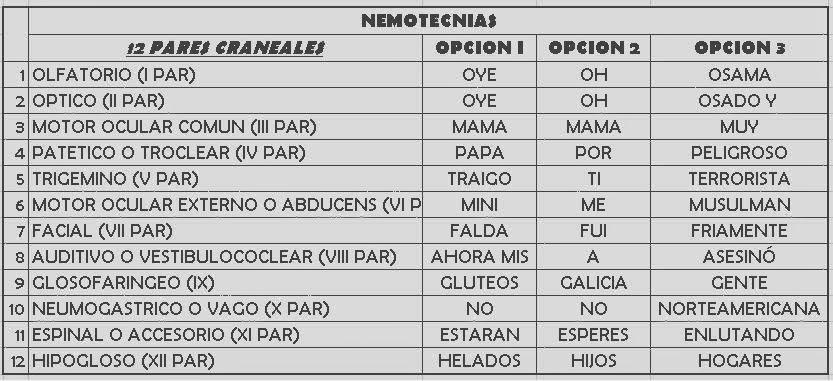 Repaso rápido de los Pares Craneales + Mnemotecnias - Medicina ...