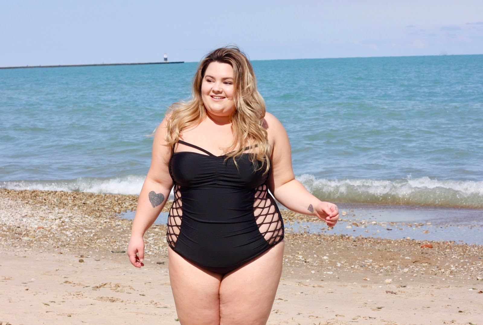 swimsuits for all, gabifresh, Ashley graham, swimsuits for plus size, sexy plus size swim suits, plus size one piece, swimwear, natalie craig, natalie in the city, Chicago, oak street beach, midwest blogger, body positivity, fatshion, fatkini