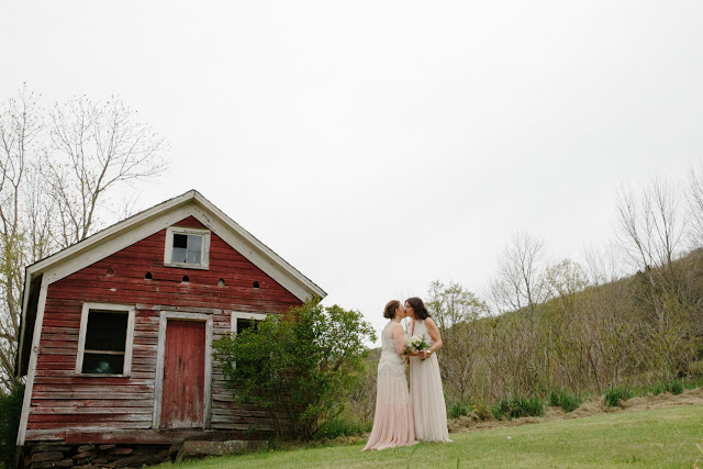 Jonna and Heather's first look at their same sex Inn at West Settlement Wedding by Karen Hill Photography
