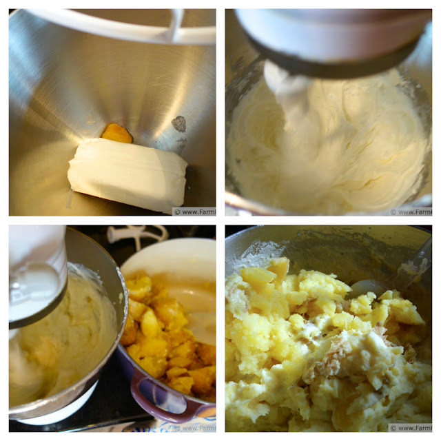 collage image showing cream cheese beaten in a mixing bowl with sour cream and roasted garlic, then cooked potatoes stirred in