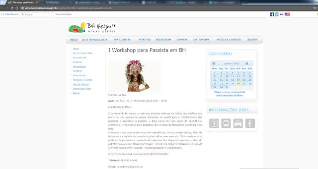 IMPRENSA -   I WORKSHOP PARA PASSISTA EM BH