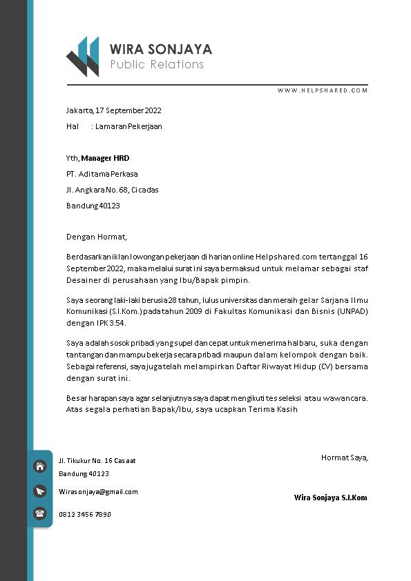 Contoh Surat Lamaran Kerja 14