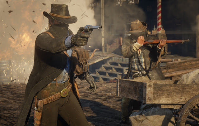 Rockstar Games Red Dead Redemption 2 Gameplay Trailer Stills masked gunmen