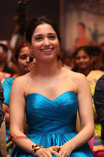 Actress Tamannaah Pictures in Blue Long Dress at Abhinetri Audio Launch  0111.jpg