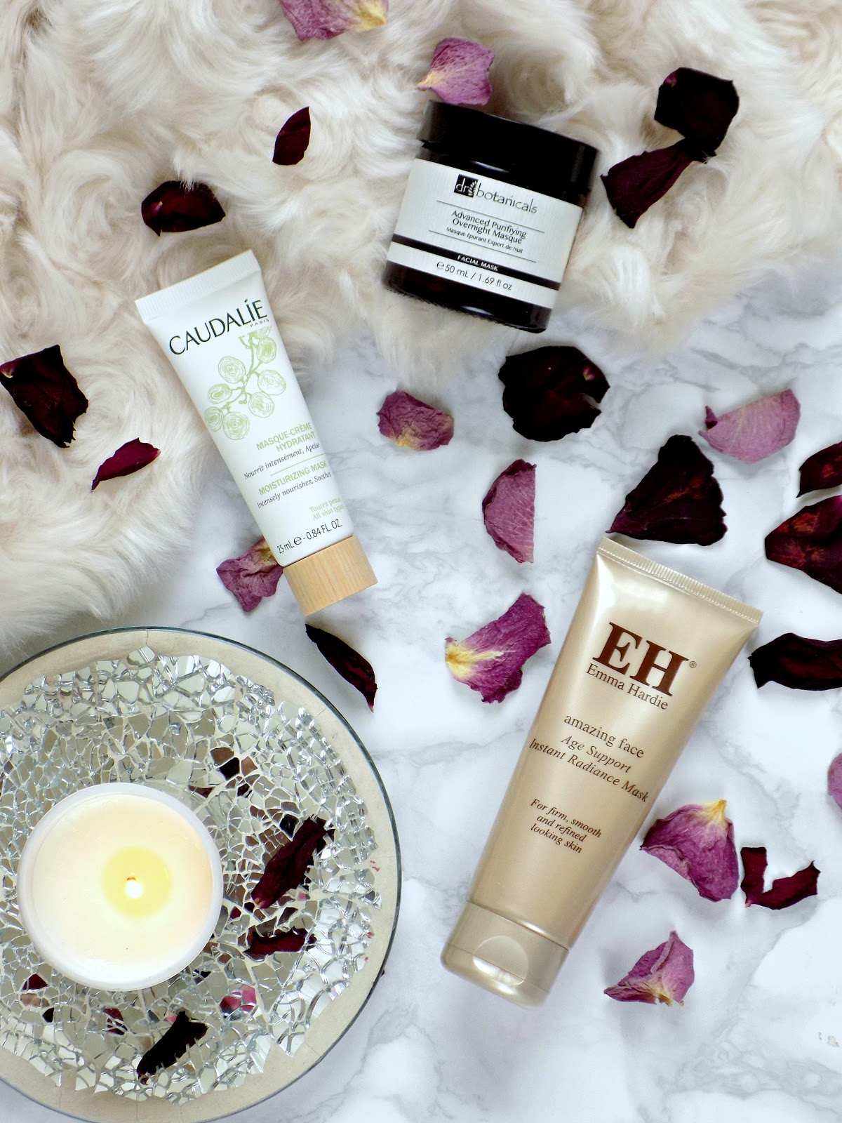 Caudalie Moisturising Mask, Emma Hardie Instant Radiance Mask, DrBotanicals Advanced Purifying Overnight Mask