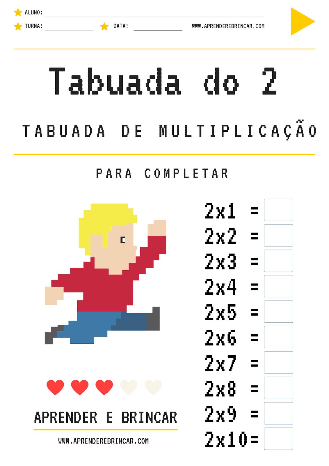 Tabuada de multiplicação do 2