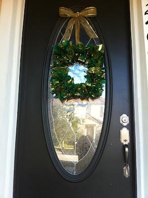DIY door wreath / made with gift tissue paper / #DIY My Sweet Zepol