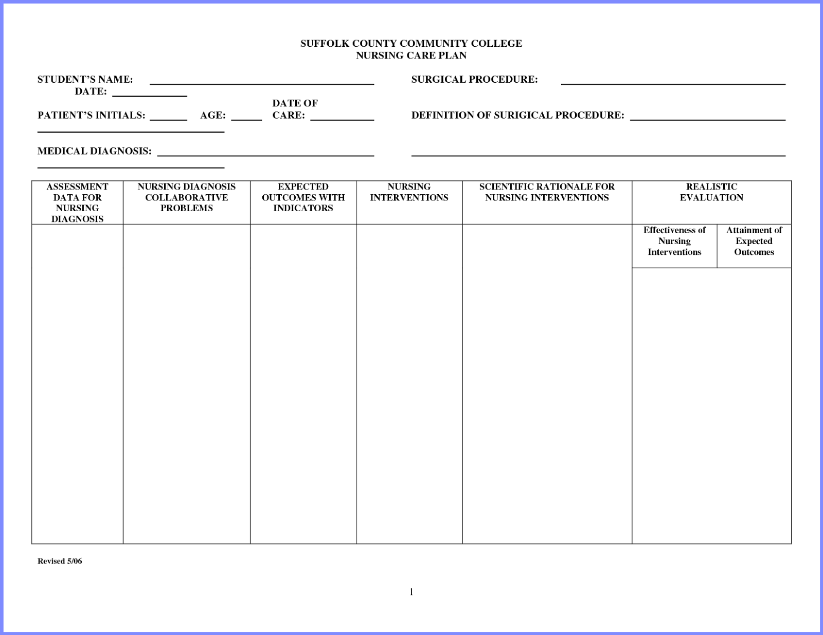 Free Nursing Care Plan Templates
