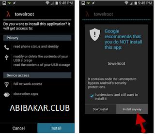 Instal TowelRoot Di Android