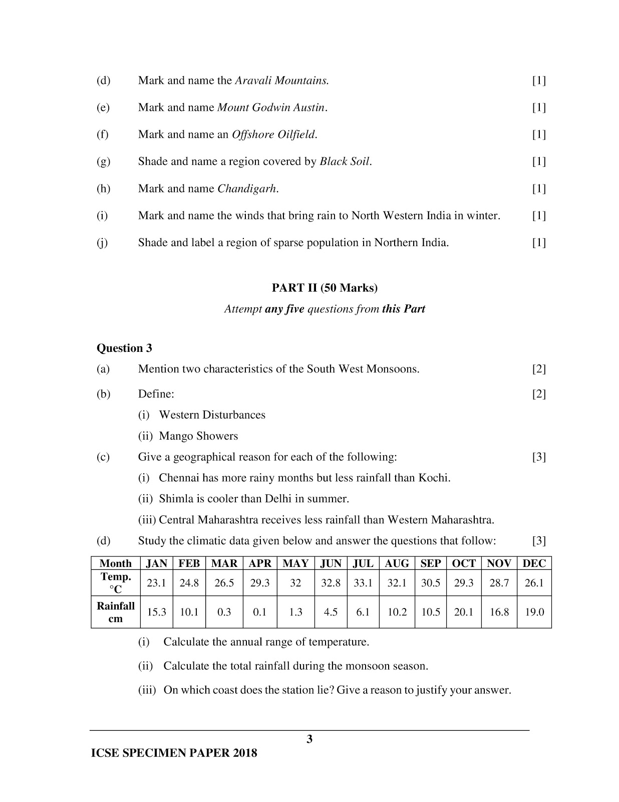 icse 2018 class 10th geography H.C.G Paper 2 specimen question paper