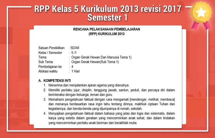 RPP Kelas 5 Kurikulum 2013 revisi 2017 Semester 1