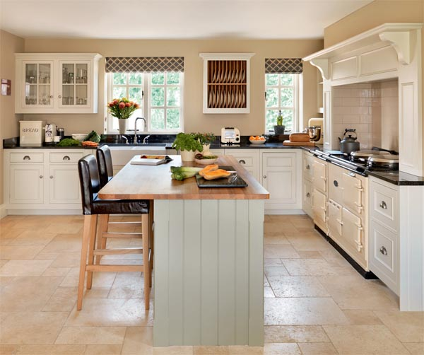 Transitional Open Plan Kitchen With Living Room Access: Cottage Style Kitchen