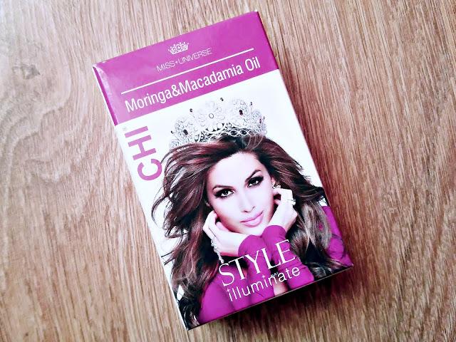 Farouk, CHI, Miss Universe Style Illuminate - Serum odmładzające do włosów z olejem moringa i macadamia, przód opakowania