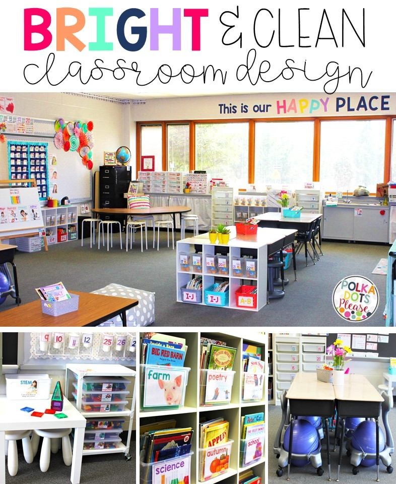 Classroom Cleaners Design ~ Bright clean classroom design polka dots please