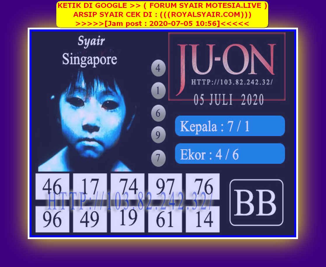 Kode syair Singapore Minggu 5 Juli 2020 148