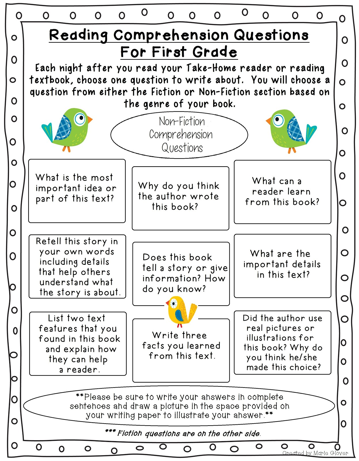 Mrs. Glover's First Grade Owls: Fiction and NF Comprehension ...