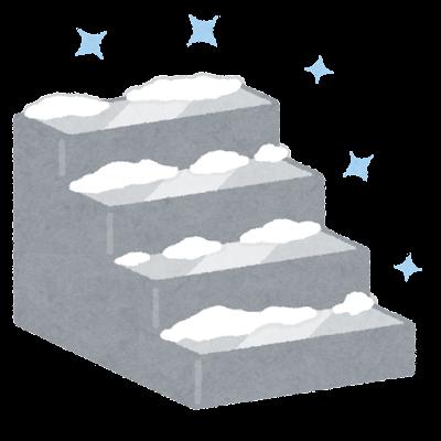 雪の積もった階段のイラスト