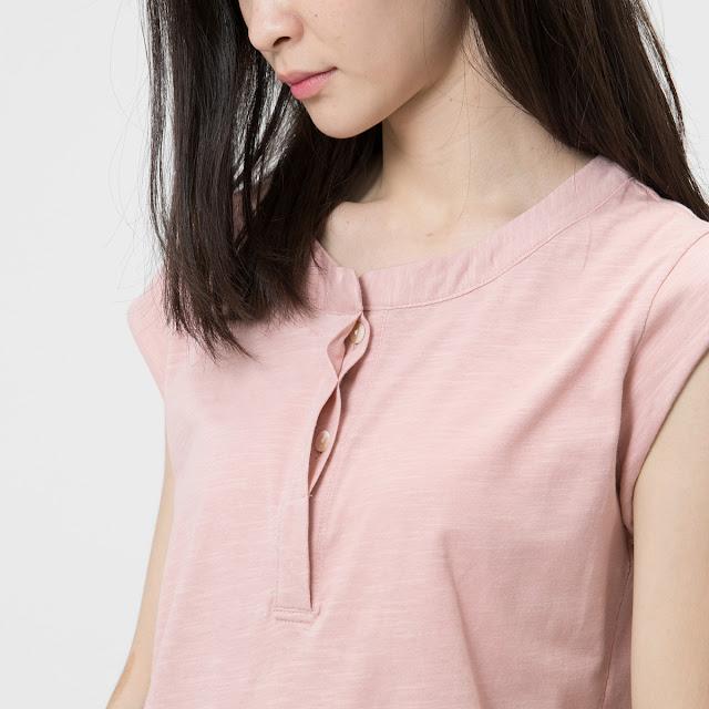 竹節棉半開襟小蓋袖上衣粉